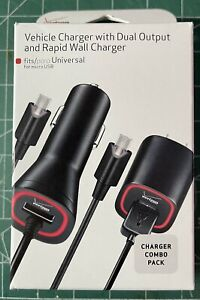 VERIZON VEHICLE CHARGER DUAL OUTPUT AND RAPID WALL CHARGER