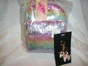 Betsey Johnson LB Sky Sequin Backpack & Unicorn Crystal Keychain *2 PIECE SET*