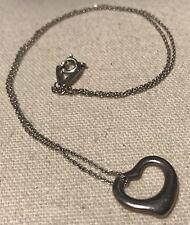 "Auth Tiffany & Co Elsa Peretti Sterling Silver Open Heart Pendant Necklace 18"""