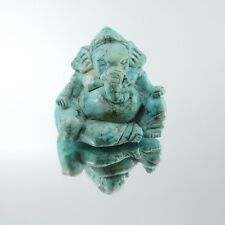 Ganesha blue turquois gemstone natural hand carved  statue collectibles rare new