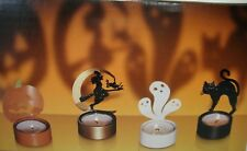 Halloween Tealight Holder Set Of 4 Witch Ghost Cat Pumpkin Shadow Casting Metal