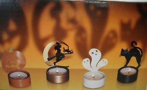 Halloween Tealight Holder Set Of 4 Witch Ghost Cat Pumpkin Shadow Casting Metal