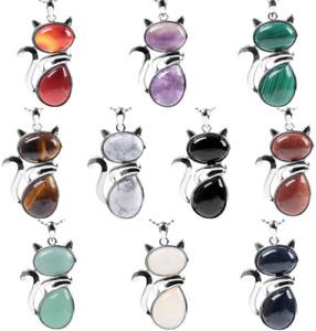 Cat Pendant Necklace Gift Stone Jewellery Vintage Style Ladies Silver Gemstone