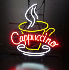 Cappuccino Open Cafe Coffee Neon Sign Lamp Light Beer Bar With Dimmer
