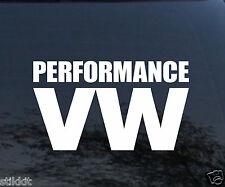 Performance VW Volkswagen Vinyl Aufkleber Schild für Fenster Stoßstange Weiß