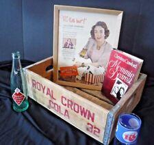 Vintage Lot~Royal Crown Cola~Advertising~Crate~Joan Crawford~RC Glass~Bottle~FUN