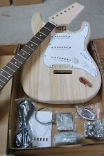DIY 6 STRING STRAT ELECTRIC GUITAR LUTHIER BUILDER KIT-SOLID WOOD NECK & BODY-
