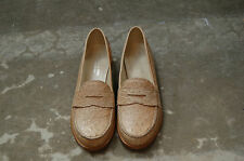 WOMAN - 37½ - PENNY LOAFER - GENUINE OSTRICH BEIGE - LEATHER SOLE