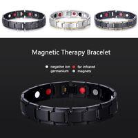 Uomo Bracciale Magnetico Titanio Super Forte Terapia Metallo Terapeutico 3Colore