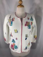 Talbots Women's Full Zip White Pink Beach Design Full Zip Cardigan Sweater M