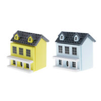2 Packs 1:12 Scale Dollhouse Miniature Wood Cottage Model Toys Openable Doors