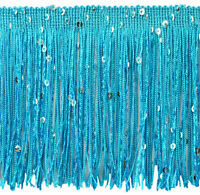 """Turquoise Blue 4"""" Chainette Sequin Trim Saphire Seas [By The Yard]"""
