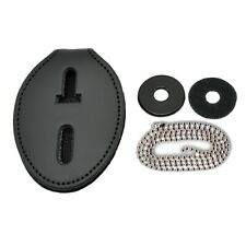 Universal Oval Police Badge Holder Leather Clip On Belt Neck Hanger Withchain