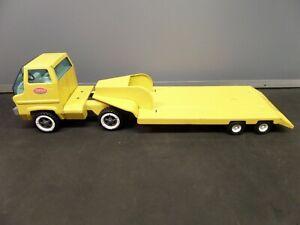 """Vintage 60"""" Long Tonka Toys Flatbed, Goose Neck Transporter Truck"""