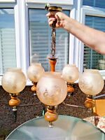 VINTAGE WOOD & METAL 5 ARM CHANDELIER/CEILING LIGHT & TINTED ETCHED GLASS SHADES