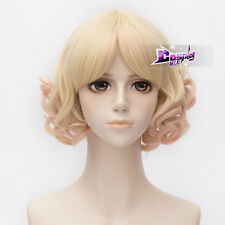 Blonde Mixed Pink Short 30CM Curly Lolita Harajuku Party Cosplay Wig + Wig Cap