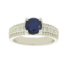 1.00 Ct Oval Blue Sapphire 14k White Gold Ring