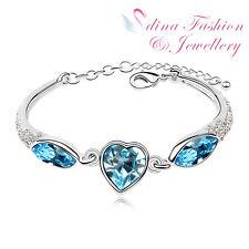 18K White Gold Plated Made With Swarovski Crystal Ocean Blue Heart Bracelet