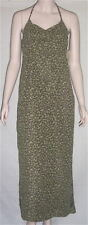 $78 NWT ESPRIT Long Maxi Halter Sun Dress Olive Green Sz 5/6 Floral Print