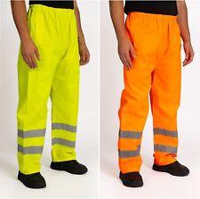 Hi Vis Viz Waterproof Trousers Visibility Work Wear Safety Over Pants S-2XL