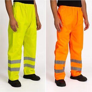 Hi Vis Viz Waterproof Over Trousers Visibility Work Wear Safety Pants S-3XL