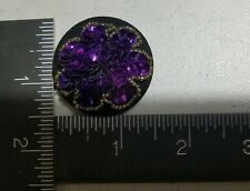 "VTG/4-BUTTONS-DECORATIVE PURPOSE ONLY/PURP-SEQUENCE/BEADS/BLK.WOVEN/1.5""/FASHION"