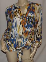 Womens Shirt Size Large ZAC & RACHEL Blue White Orange Woven Popover Roll Cuffs