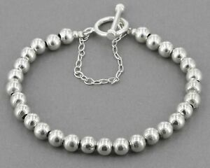 Sterling Silver 6mm Ball Bead Toggle Bracelet with Safety Chain 18.3 Grams