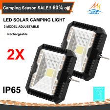 2X LED Solar Camping Light Outdoor Rechargeable Lantern Waterproof Lamp Caravan