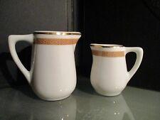 "2 vintage ""HOTEL PLAZA"" JERSEY CITY cream pitcher set MAYER CHINA gold trim lot"