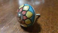 Hand-made Hand-painted Ceramic Drawer Knob - Red yellow blue - S53