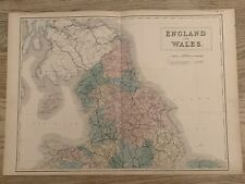 1854 NORTHERN ENGLAND & WALES LARGE HAND COLOURED ANTIQUE MAP 165 YEARS OLD