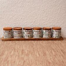50er 60er Jahre Vorratsdosen Vorratsbehälter für Gewürze mit Holzdeckel