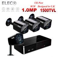 ELEC 8CH 1080N CCTV DVR 1500TVL IR-Cut 720P HD Outdoor Security Camera System UK