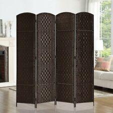 6ft Room Divider Diamond Weave Fiber Privacy Folding Screen Freestanding 4 Panel