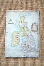 Old replica of Anglia Figura Cottonian map of British Isles Britain circa.1536