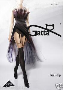 Gatta Sexy Strumpfhose Fantasia Girl-UP 22  in Strapsoptik 2 Farbig Nero/Golden