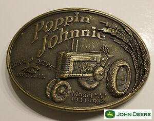 John Deere Classic Tractor Belt Buckle poppin  johnnie Antique Bronze Color USA