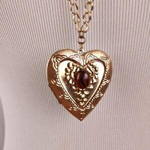 Heart Locket Pendant Necklace Gold Tone Glass Cabochon Cottagecore