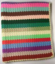 "Vintage Handmade Crochet Multi Color Striped Afghan Throw Blanket 42"" x 48"""