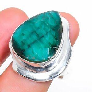 Skota Emerald Gemstone Handmade 925 Sterling Silver Jewelry Ring Size 8 q470
