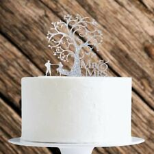 Silver Glitter Couple With Tree Cake Topper x1 Baking Pick Decoration Wedding