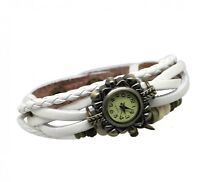 Genuine Leather Attractive Vintage Bead Bracelet Style Strap Ladies Quartz Watch
