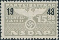 Stamp Germany Revenue WWII 1943 3rd Reich Dues 15.90 MNG