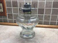 """Antique/Vintage Clear Glass Kerosene/Oil Hurricane Lamp Base 8"""""""