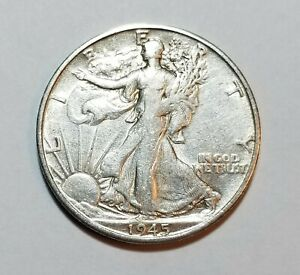 1945 S Walking Liberty Silver Half Dollar ~San Francisco Mint   #B84