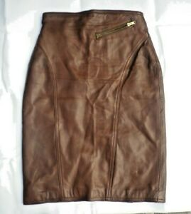GEUEL LONDON BROWN LEATHER  SKIRT SIZE UK 10  Euro 38