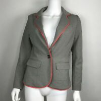 Cynthia Rowley Gray with Coral Trim Cotton Spandex One Button Jacket size XS
