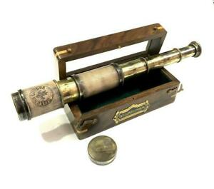"""Maritime 16"""" Dollond London Solid Brass Leather Covered Telescope Handheld Gift"""