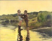 Original Impressionism Realism Landscape Oil Painting Figure Ukrainian Russian